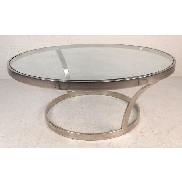 Milo Baughman Style Mid-Century Modern Chrome Coffee Table