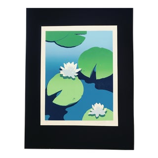 """Mid Century Modernist Waterscape Lithograph """"Lily Pads Floating"""""""