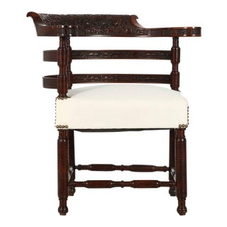1880 Antique Aesthetic Movement Rosewood Carved Corner Chair
