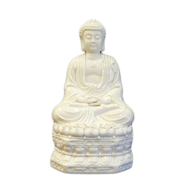 Image of Chinese White Porcelain Buddha on Base Statue