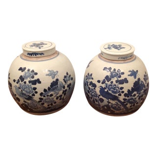 Blue and White Bird Ginger Jars - A Pair