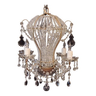 Small Early 20th C Italian Crystal Hot Air Balloon Chandelier