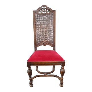 Beautiful Vintage Spanish Revival Carved Wood Cane Back Red Velvet Accent Chair