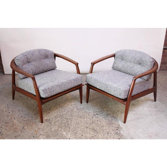 Image of Pair of Staved Walnut Lounge Chairs by Milo Baughman