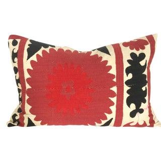 Cabernet And Black Vintage Suzani Pillow