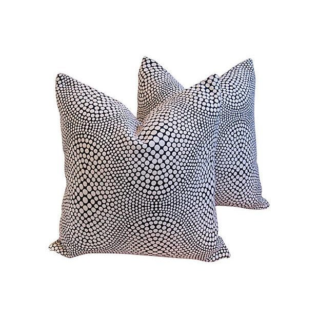 Modern Geometric Abstract Dot Pillows - A Pair - Image 1 of 7