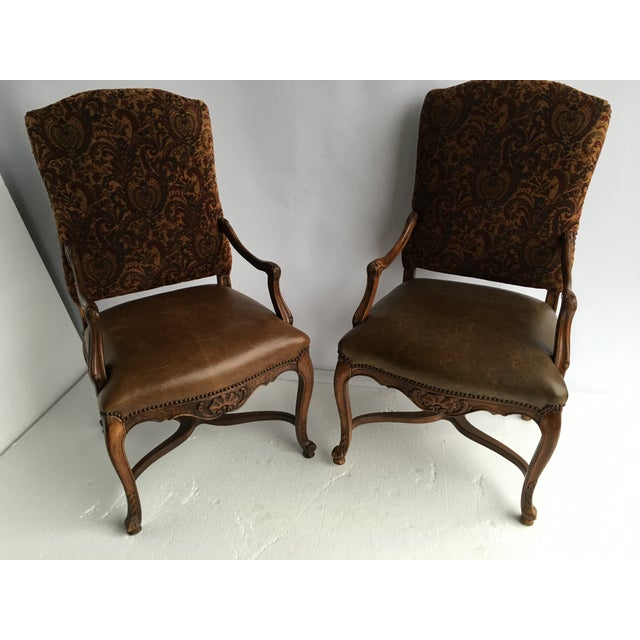 Image of Country French Arm Chairs Leather Seat - Pair