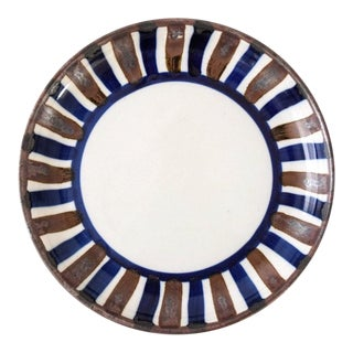Mid Century Danish Modern Dansk Ceramic Bowl with Brown & Blue Stripes