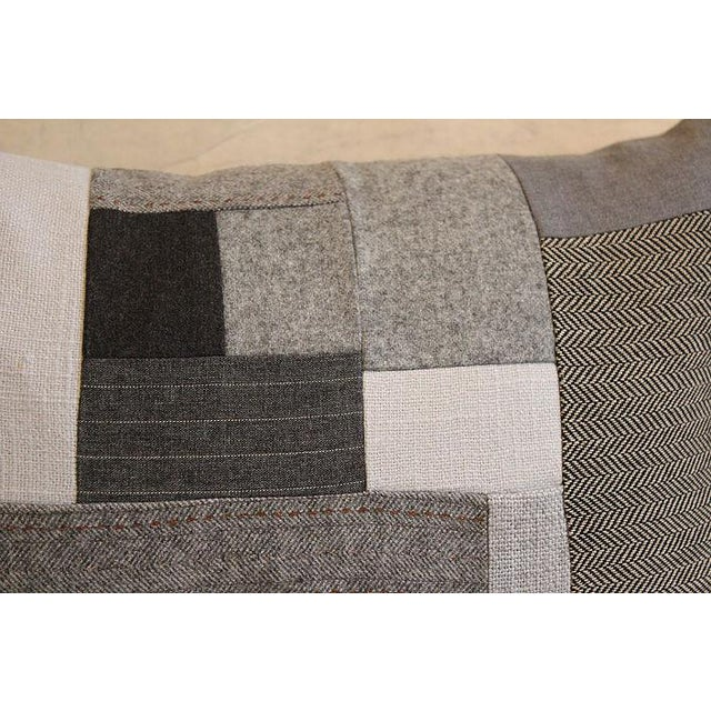 Grey Wool Throw Pillow : Gray Flannel Wool Patchwork Throw Pillow Chairish