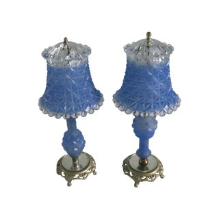Vintage Blue Faceted Glass & Gold Lamps - A Pair