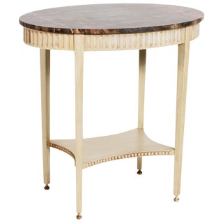 Painted Oval Marble Top Table