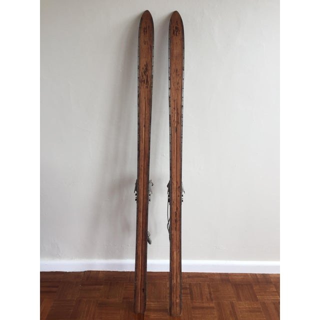 Vintage Mercury Wooden Skis With Northland Metal & Leather