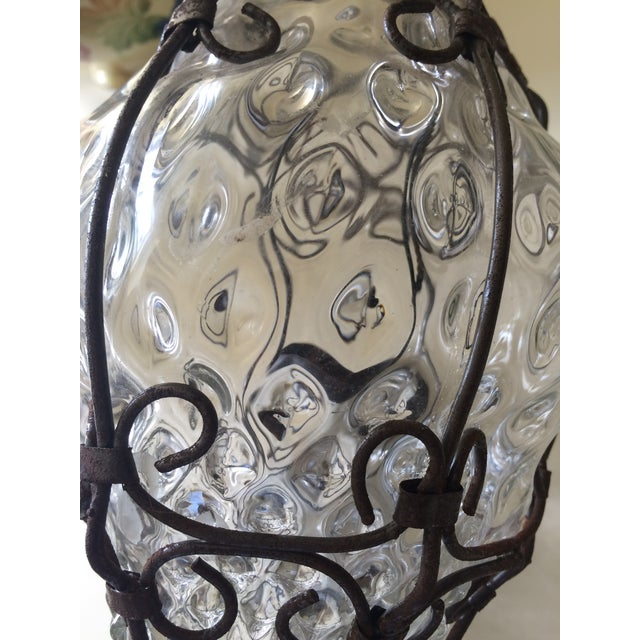 Image of Vintage Italian Caged Bubble Glass Candle Light