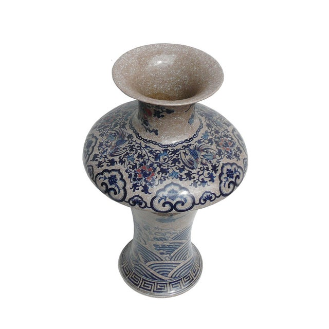 Chinese Asian Crackle Base Blue Red Porcelain Vase - Image 3 of 6