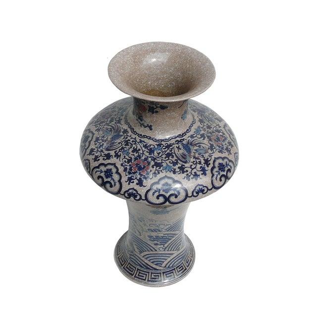 Image of Chinese Asian Crackle Base Blue Red Porcelain Vase
