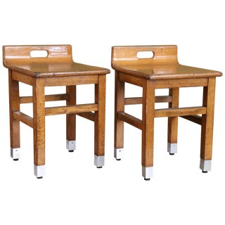 Pair of Belgian 1960s Mid-Century Modern Low Oak Chairs with Metal Feet