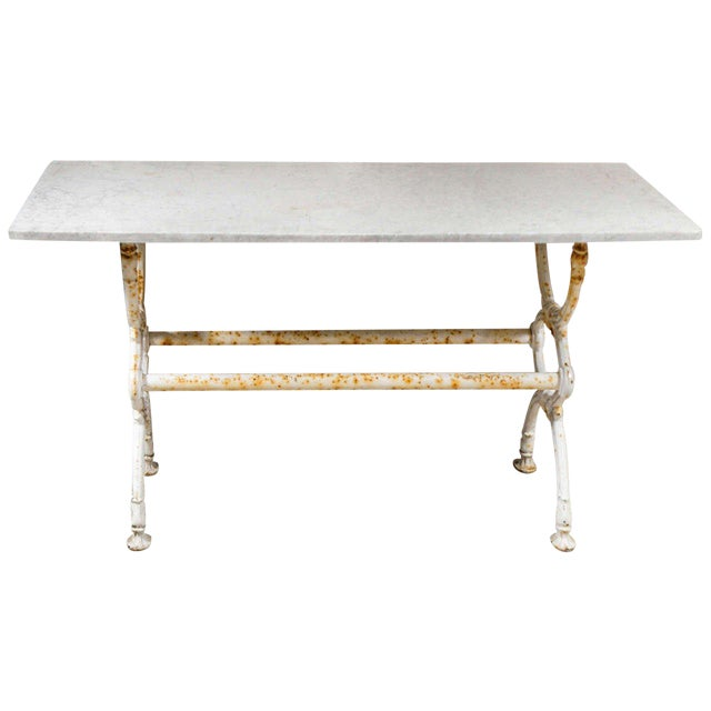 Late 19th early 20th century cast iron garden table chairish for Table th width