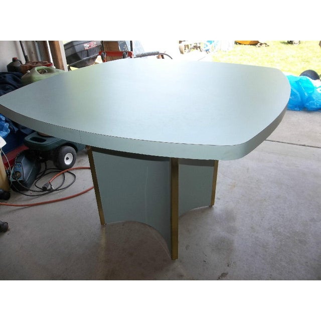 Mid-Century Modern Blue Formica Dining Table - Image 3 of 5