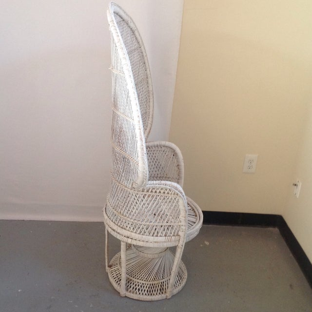 Image of Vintage 1960s White Woven Peacock Chair