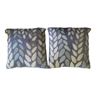 Leaf Cowhide Pillows - A Pair