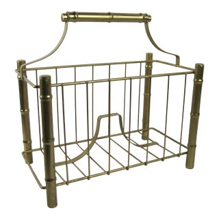 Vintage Gold Faux Bamboo Magazine Rack