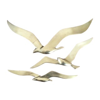 Mid-Century Modern Brass Flying Birds - Set of 3