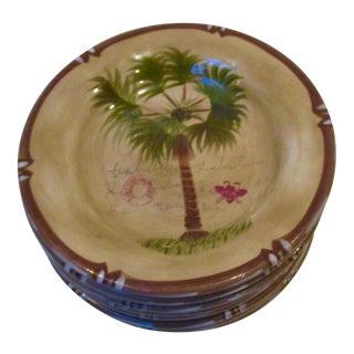 Hand Painted Bora Bora Tiki Palm Tree Tropical Salad Dessert Plates - Set of 8
