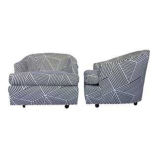 Vintage Black & White Geometric Striped Swivel Club Chairs - A Pair
