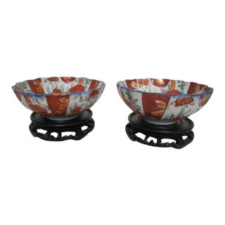 Vintage Japanese Bowls With Stands - Pair