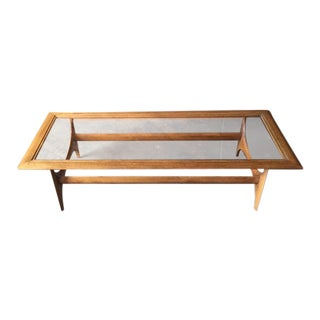 Mid Century Sculptural Glass Top Oak Coffee Table by Lane