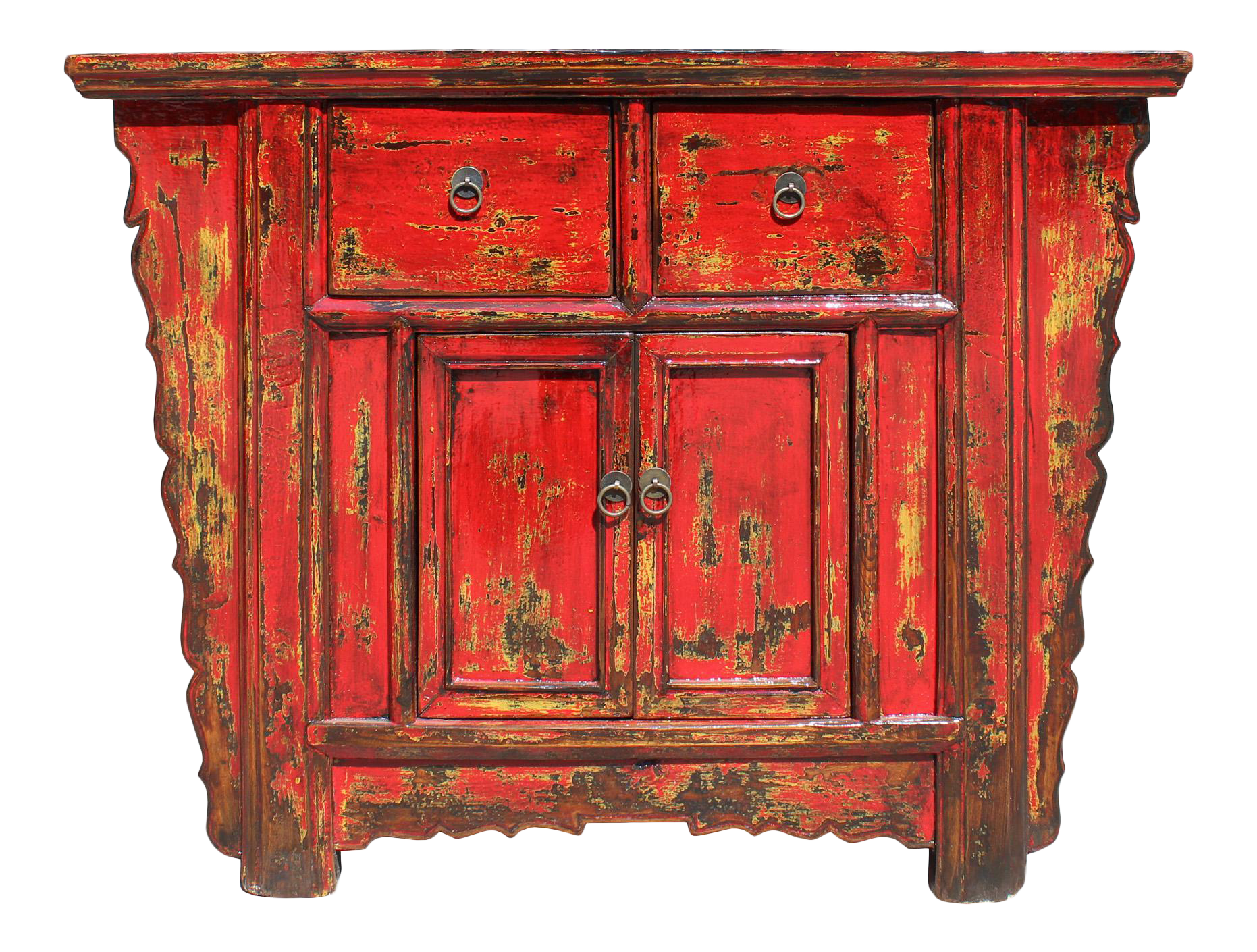 Chinese Rustic Rough Wood Distressed Red Side Table Cabinet
