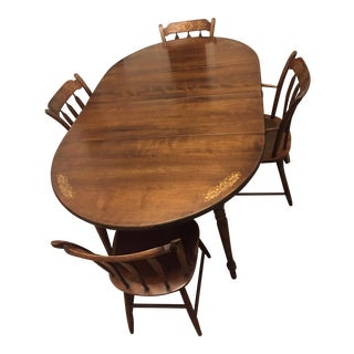 Vintage Hitchcock Dining Table With 4 Chairs