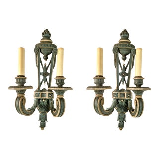 Antique French Carved Wood Sconces - A Pair