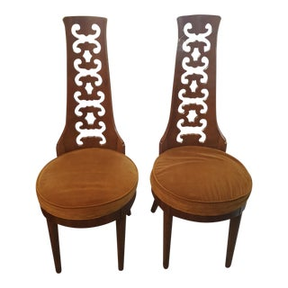 Mustard Burlwood Side Chairs - A Pair