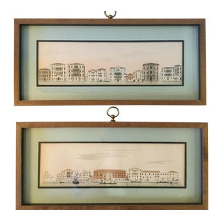 #1 & #2 Venice Architectural Studies - Hand-Colored - a Pair