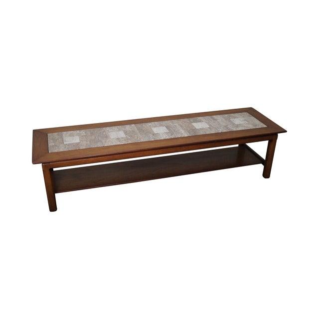 Image of Mid Century Modern Long Walnut Coffee Table