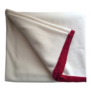 Vintage Wool Felt Blanket-Red Velvet Trim
