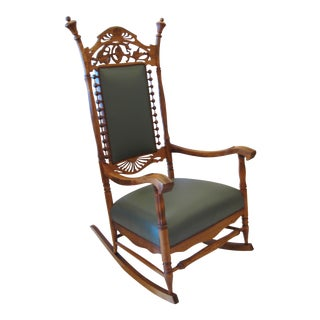 Vintage Carved Wood Rocking Chair