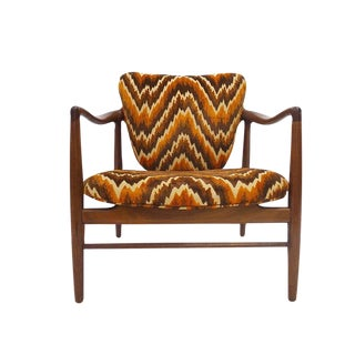 Stunning Wide Seated Occasional Chair in Finn Juhl Manner with Chevron Flame