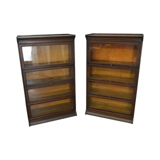 Antique Pair Oak 4 Section Stacking Barrister Bookcases by Gunn