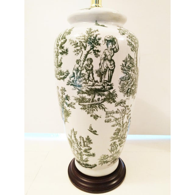 Image of Vintage Green & White Toile Ceramic Table Lamp