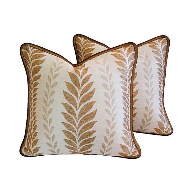 Iman Golden Zahra Golden Leaf Pillows - A Pair - Image 1 of 7
