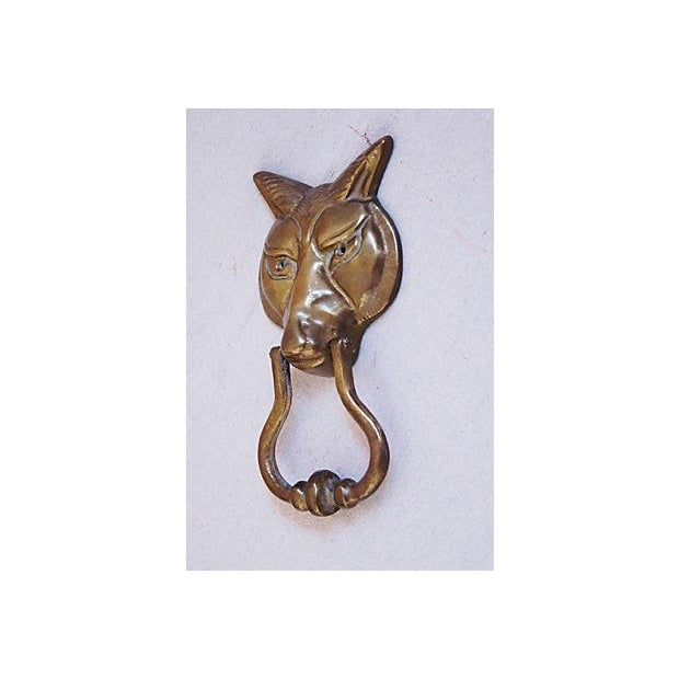 Large 1960s English Brass Fox Door Knocker - Image 3 of 6