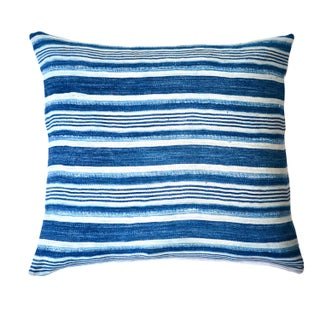African Stripe Indigo Woven Cotton Pillow