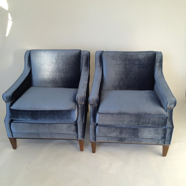 Mid-Century Blue Velvet Club Chairs - A Pair - Image 9 of 10