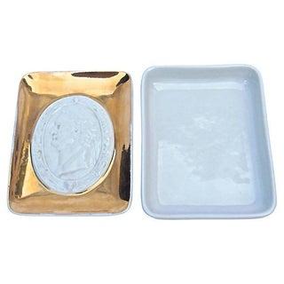 Vintage Fornasetti Porcelain Intaglio Tray Box