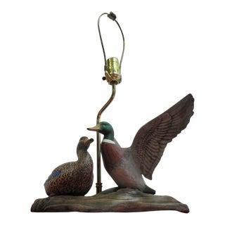 Vintage Mallard Duck Table Lamp - A Pair