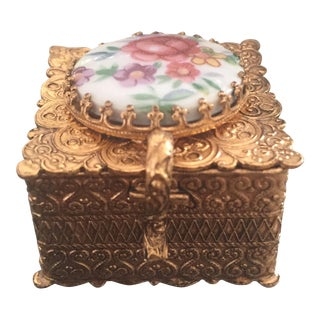 Antique Gold Metal Trinket Ring Box