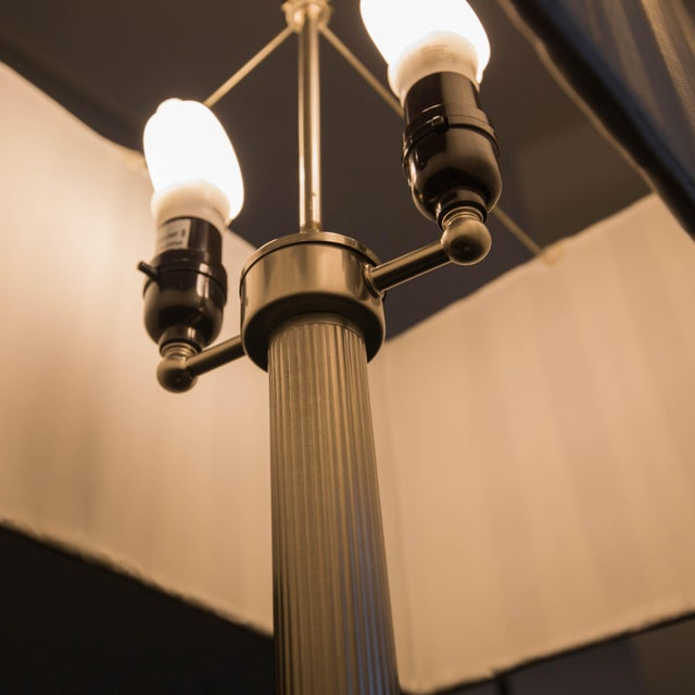 Walnut and Brushed Aluminum Floor Lamps - Pair - Image 4 of 6