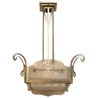 French Art Deco Geometric Chandelier Signed by Muller Freres Luneville